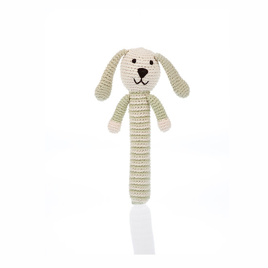 Organic Cotton Knitted Stick Rattle – Bunny - Teal