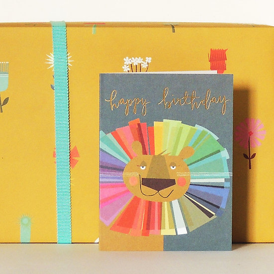 Happy Birthday - Lion Card (Tiddly Widdly 12 x 9 cm)