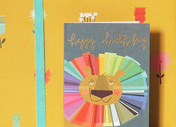 Happy Birthday - Lion Card (Tiddly Widdly 12 x 9 cm)