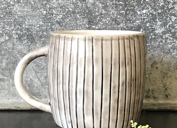 """Rustic Porcelain Mug """"Scratched Lines"""" with Gift Box"""