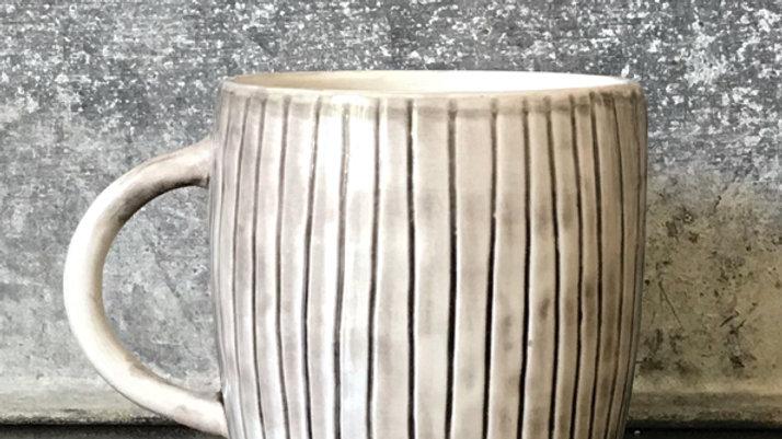 Rustic Porcelain Mug - Scratched Lines
