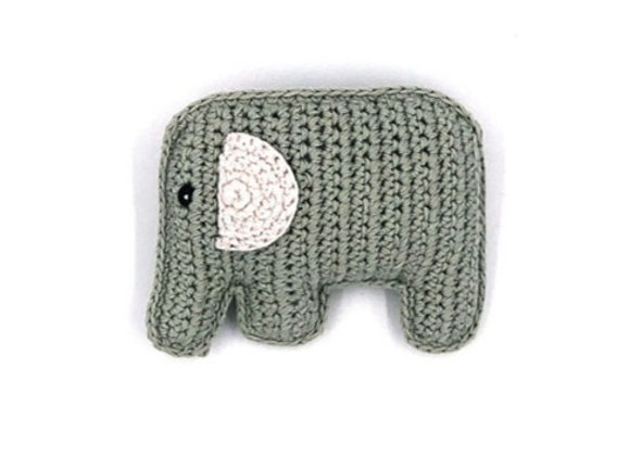 Organic Cotton Knitted Elephant Rattle – Teal