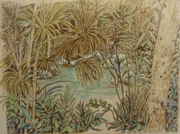 Silky Lodge, The Daintree - ink and watercolour
