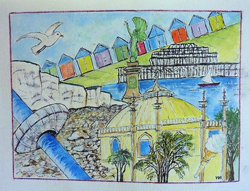 Brighton - ink and watercolour