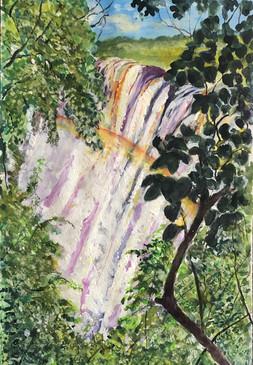 Victoria Falls, Zambia - Watercolour & acrylic on textured paper