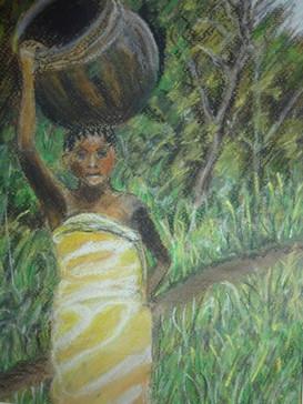 African girl - pastel