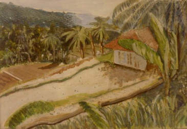 Bali - collage and oil