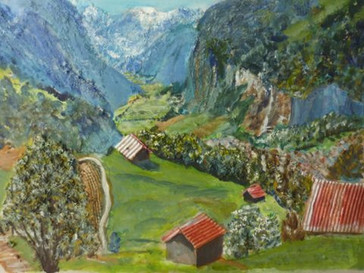 Swiss scene - collage and oil on board