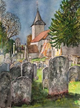 Patcham All Saints Church - A3, Ink and watercolour on watercolour paper