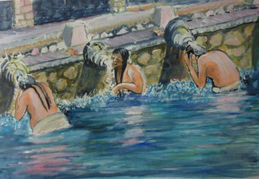 Bathers in Bali - acrylic on textured paper