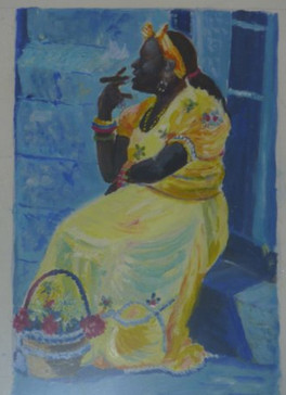 Woman in Havana - oil on textured paper