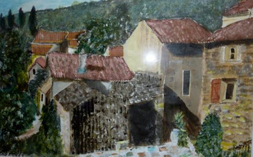 Olargues - Collage and oil on textured paper