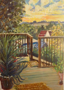 Corinna's deck in Brighton - oil on textured paper