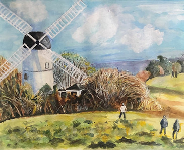 Patcham Windmill - A3, Ink and watercolour on watercolour paper