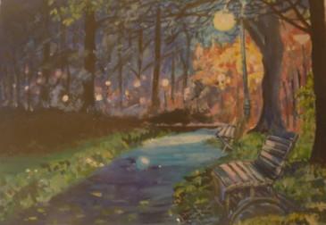 Night Scene - oil on textured paper
