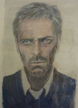 Hugh Laurie - pencil and acrylic