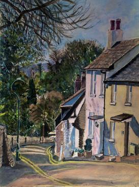 Patcham Church Hill - A3, Acrylic on acylic paper
