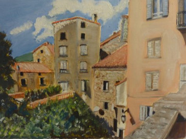 Corsica townscape - oil on textured paper