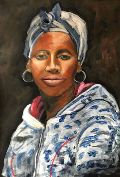 Lady, South African Township - Acrylic on textured paper