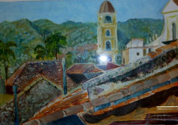 Roofs in Trinidad, Cuba - oil on textured paper