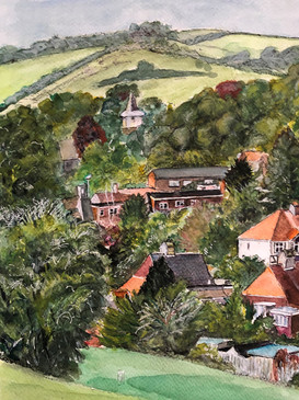 The view from Patcham Mackie Park - A3, Ink and watercolour on watercolour paper