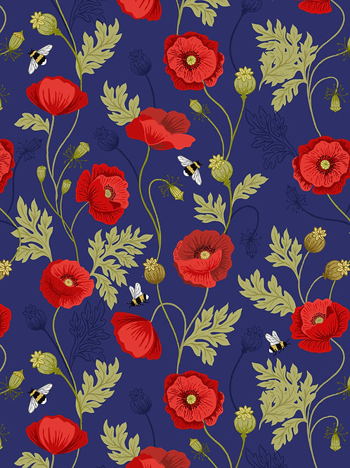 Poppy and Bee on Blue (A553.2)