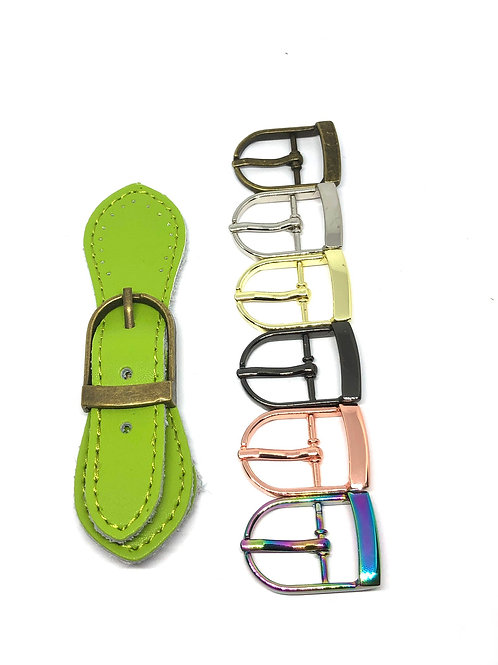 Leather Buckle - Lime Green