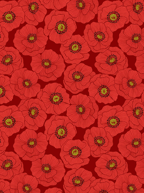 Poppy Head on Red (A554.2)