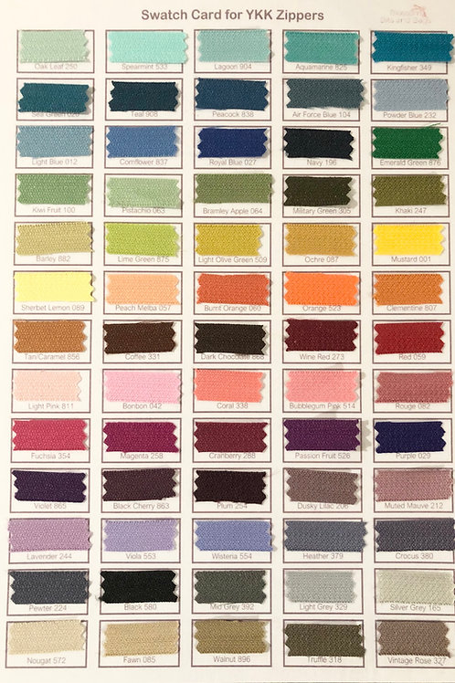 Colour Swatch Card for YKK Zippers