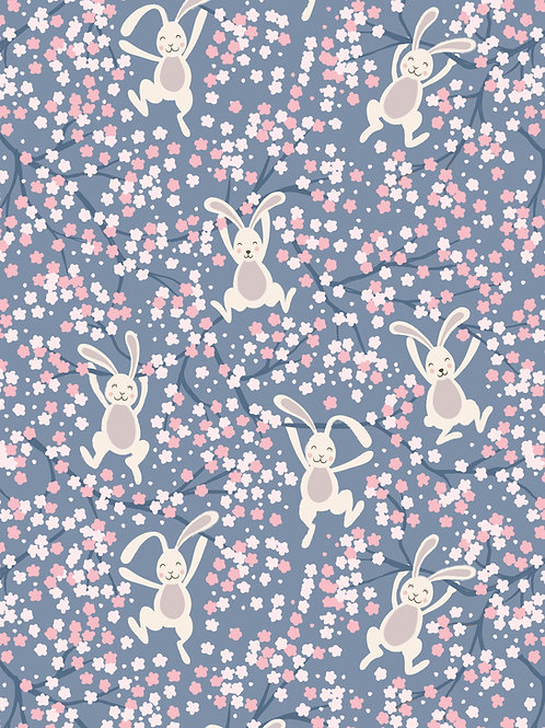 Swinging Bunnies on Denim Blue (A526.3)