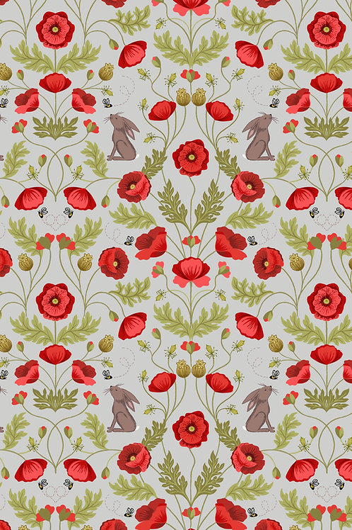 Poppy and Hare on Light Grey (A557.1)