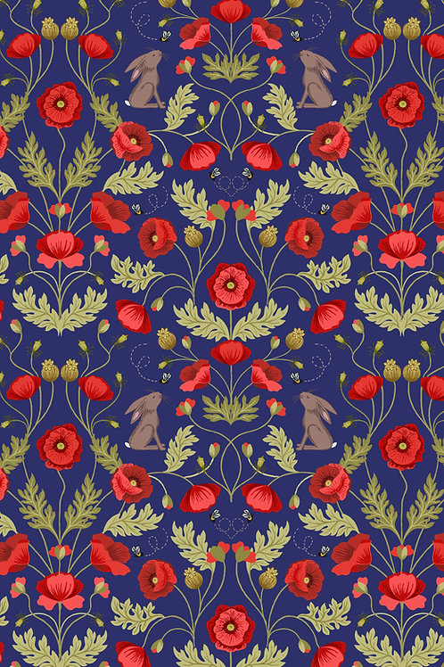 Poppy and Hare on Blue (A557.3)