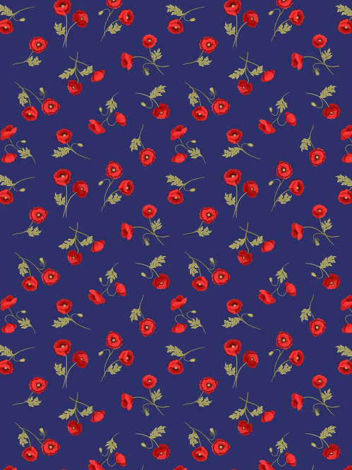 Mini Poppies on Blue (A556.2)