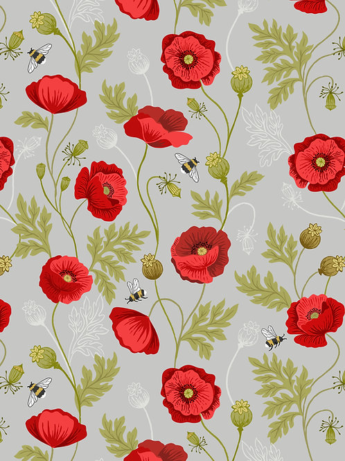 Poppy and Bee on Light Grey (A553.1)