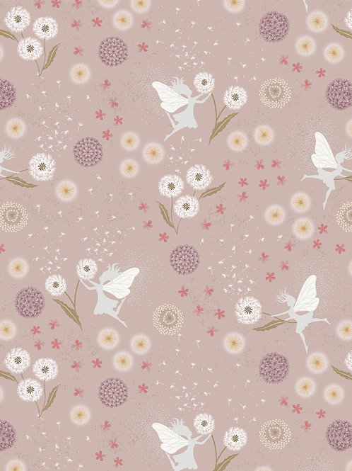 Fairy Clocks on Warm Linen with Silver Metallic (A505.1)