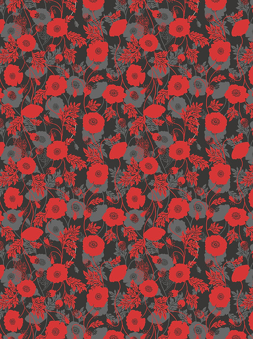 Poppy Field on Grey and Black (A555.3)