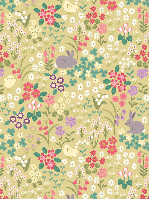 Bunny and Chick Floral on Spring Yellow (A530.1)