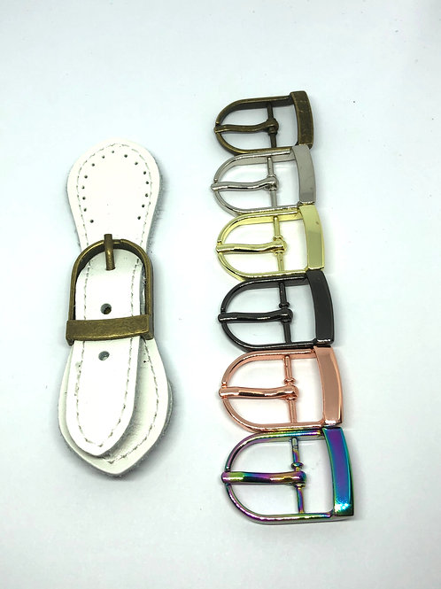 Leather Buckle - White