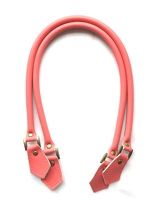 Leather Handles - Coral