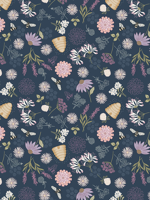 Bee Floral on Dark Blue (A504.3)