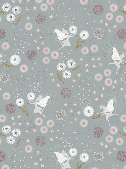 Fairy Clocks on Grey Blue with Silver Metallic (A505.2)