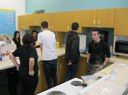 A group of students in the home ec r