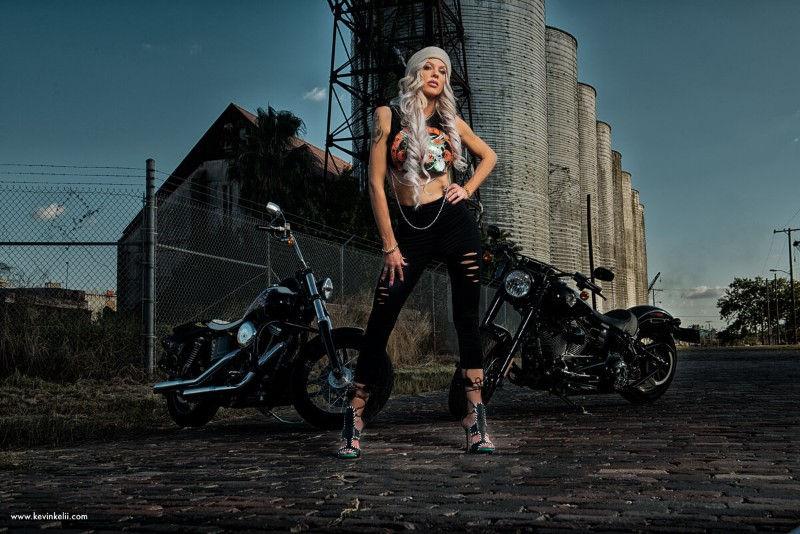 Outside Sexy biker Photoshoot