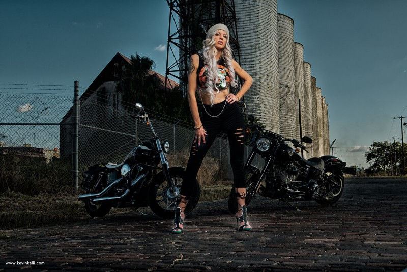 Outside Sexy biker Photoshoot