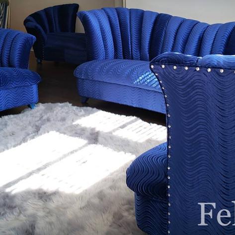Royal blue livingroom set