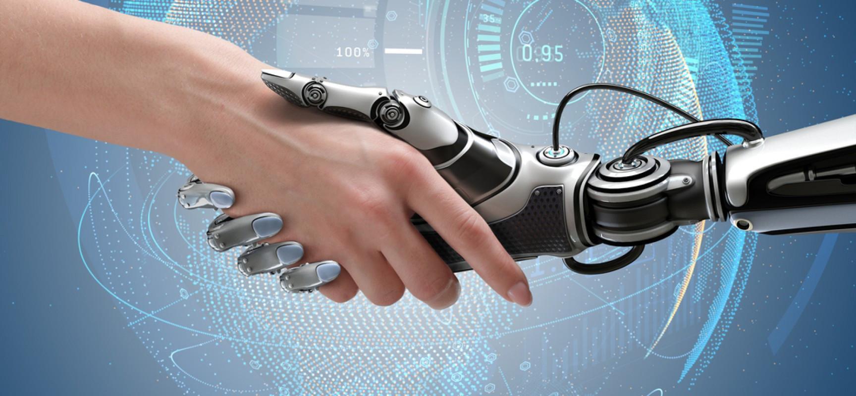 Mão robótica e mão humana se apertando fundo de indústria 5.0
