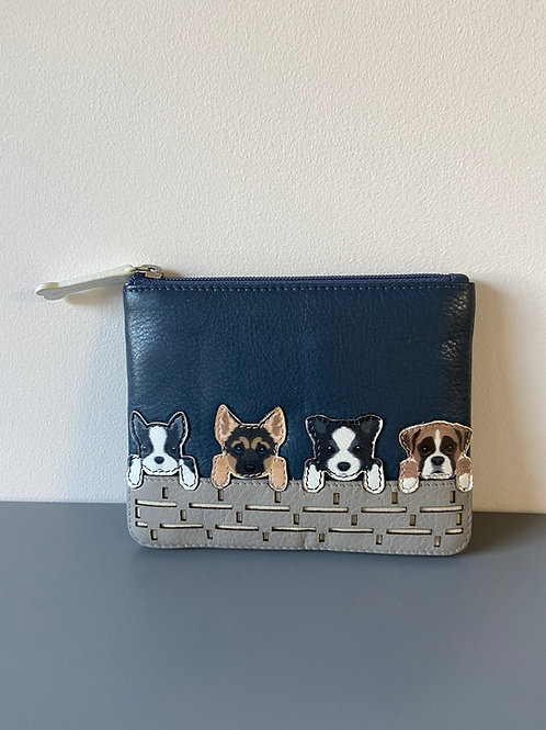 Best Friends Dogs on a wall coin purse Mala design in leather