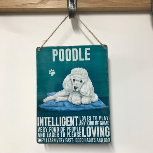 Dog Metal Sign Poodle White Quirky Retro Gift for Dog Lovers