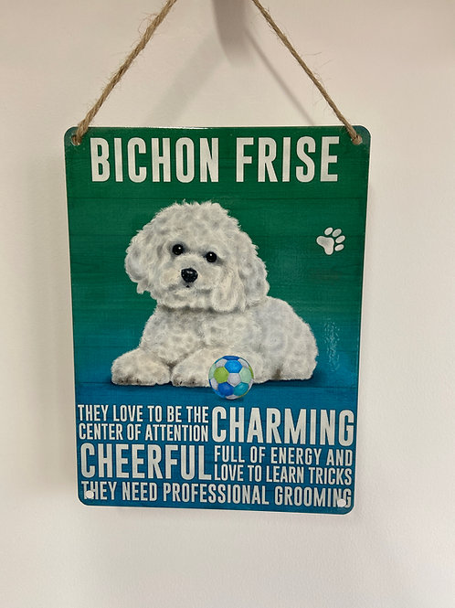 Dog Metal Sign Bichon Frise Quirky Retro Gift for Dog Lovers