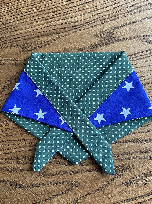 Bandana - Polka Dots & Stars Racing Green & Blue